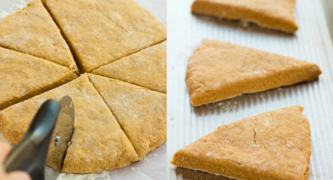 collage of pumpkin scones being sliced and put on a pan
