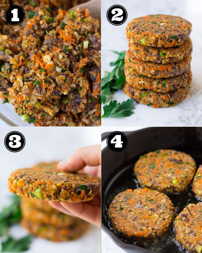 collage of how to make veggie burgers