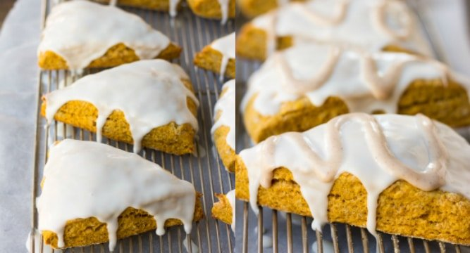 collage of pumpkin scones being glazed