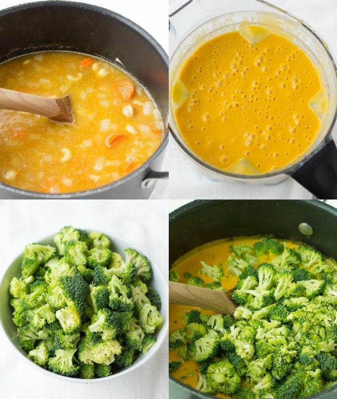 collage of how to make vegan broccoli cheese soup