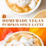 pinterest collage with text pumpkin spice latte