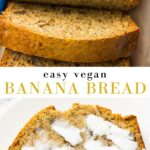 Pinterest collage with text of easy vegan banana bread