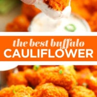 pinterest collage with text of buffalo cauliflower