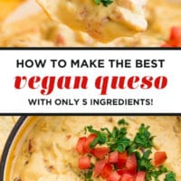 Pinterest collage with text of vegan queso