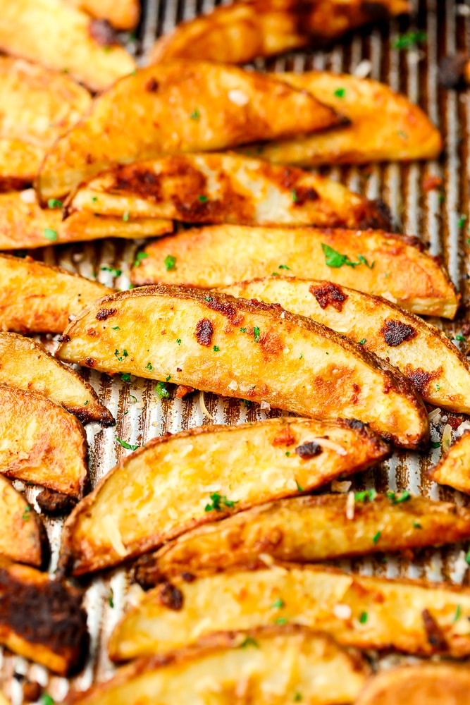 close up of crispy potatoes on a pan