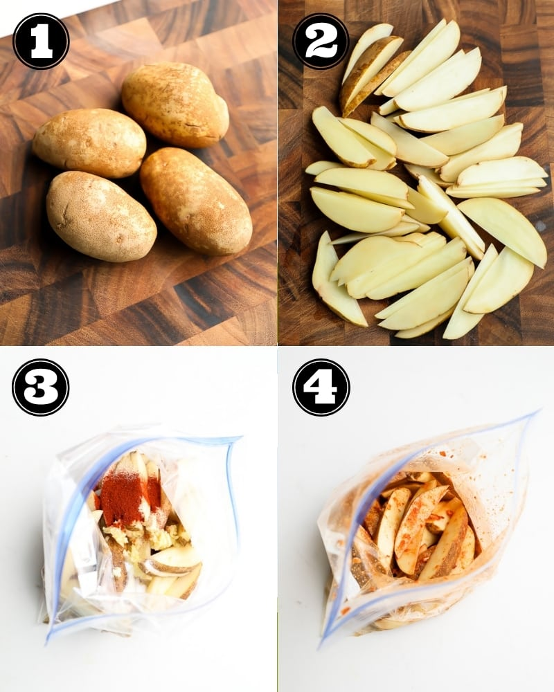 collage showing step by step how to cut and mix potato slices
