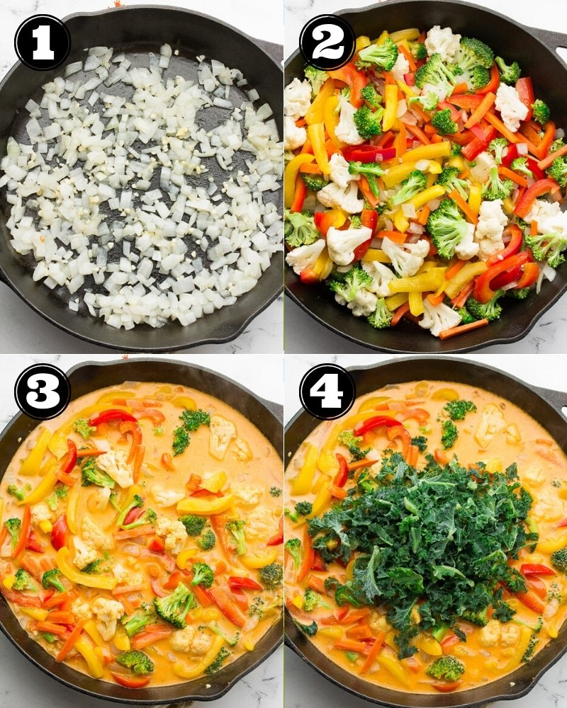 collage of how to make vegan thai red curry, step by step in a pan