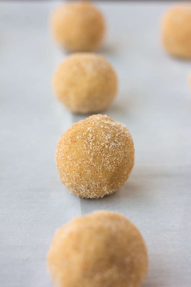 cookie dough balls rolled in cinnamon sugar for vegan snickerdoodles