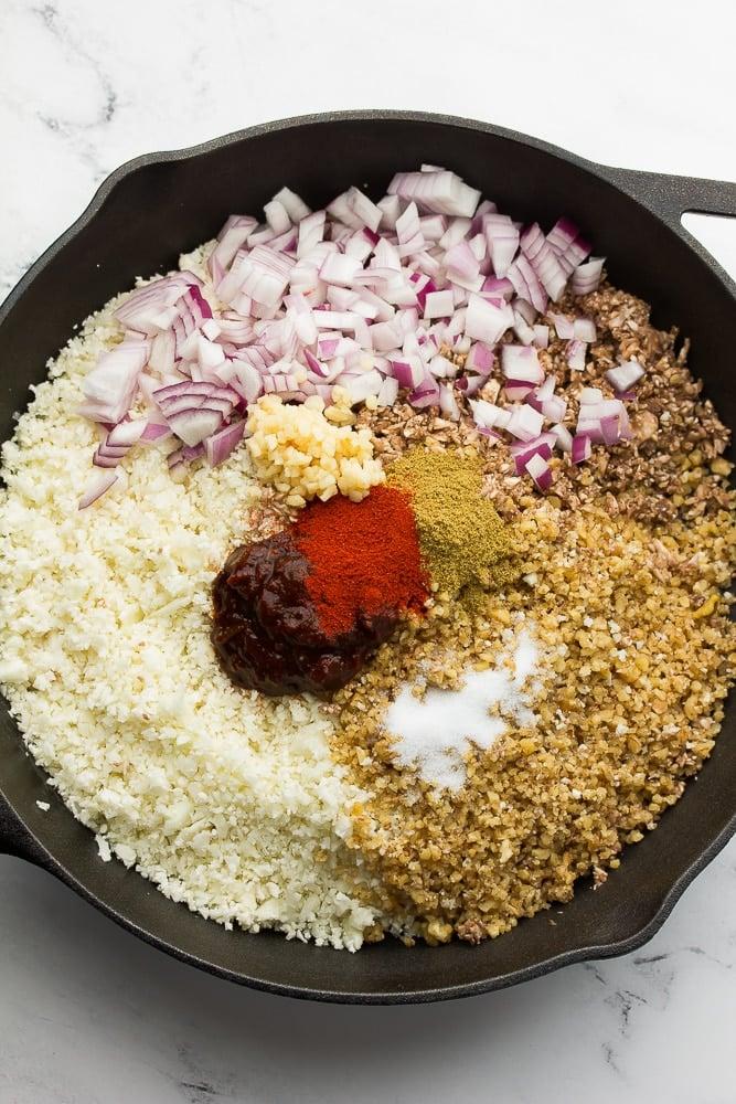 pan full of ingredients to make vegan taco meat