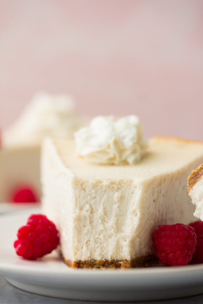 close up of a bite taken out of cheesecake