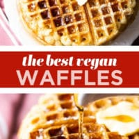 pinterest collage with text of the best vegan waffles