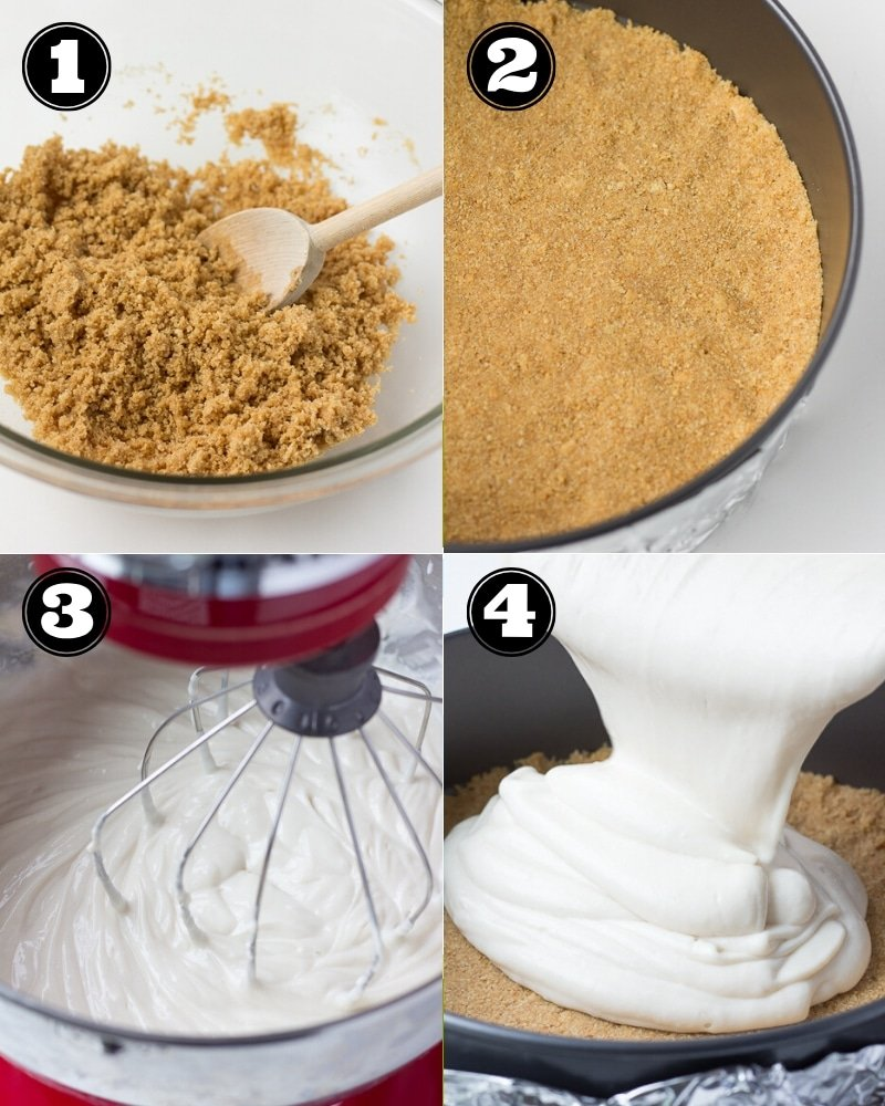 collage of how to make vegan cheesecake