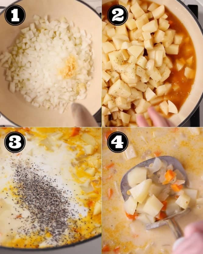 collage of how to make the soup