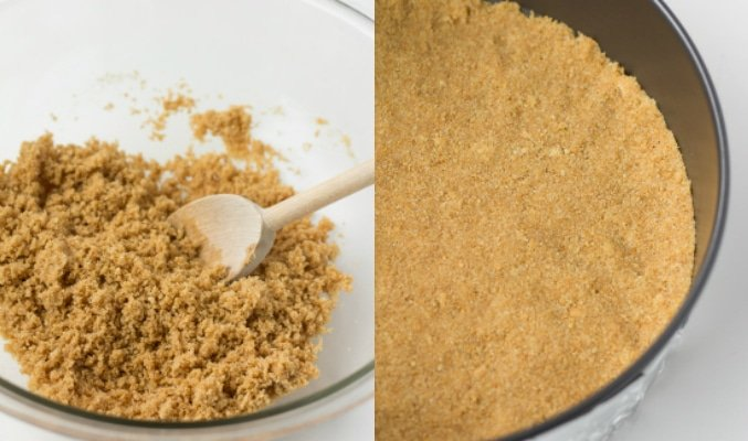 collage of how to make vegan cheesecake crust.