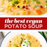 "pinterest collage with text reading ""the best vegan potato soup"""