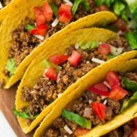 "square image of tacos with ""meat"