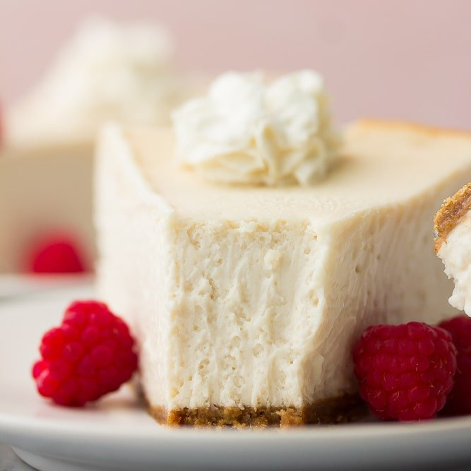 square image of vegan cheesecake, bite taken out of it showing texture