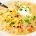close up of a bowl of potato soup with lots of cheese, sour cream and bacon bits