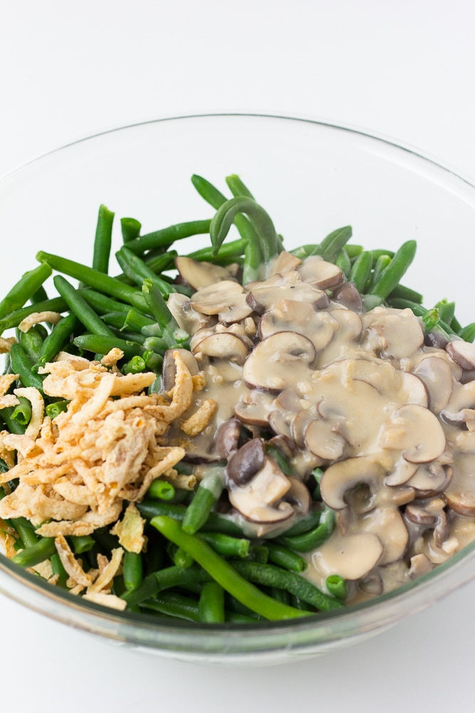 vegan green bean casserole ingredients in a bowl