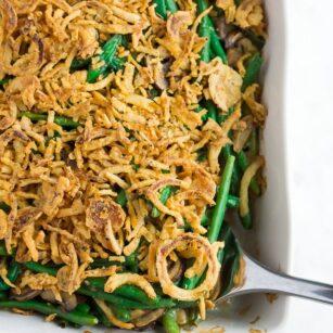 vegan green bean casserole in casserole dish