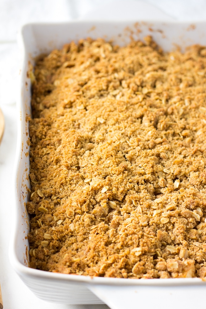 vegan apple crisp in casserole dish