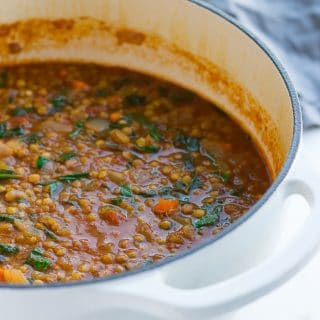cooked pot of vegan lentil soup