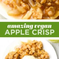 pinterest collage with text of vegan apple crisp