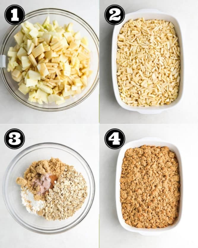 collage of how to make apple crisp