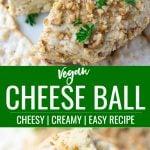 pinterest collage of vegan cheese ball