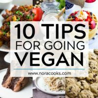 square image with text that says 10 tips for going vegan.