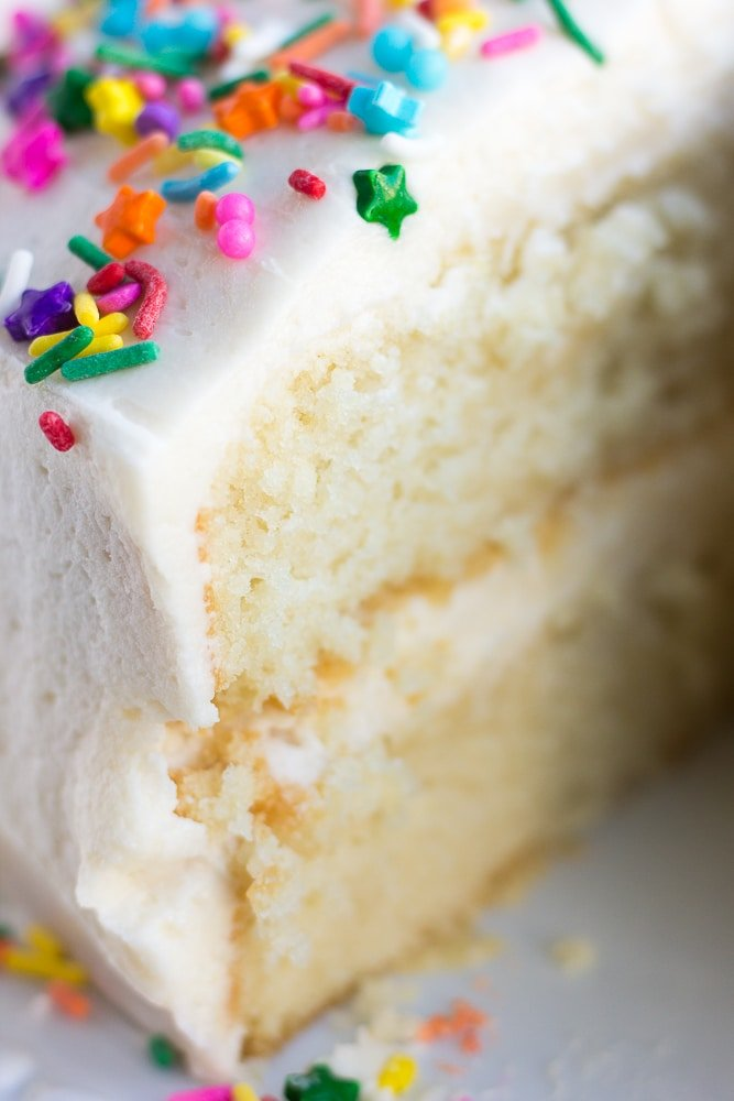 close up of vegan vanilla cake