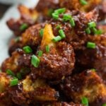 close up of bbq cauliflower wings