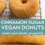 pinterest collage of cinnamon sugar vegan donuts