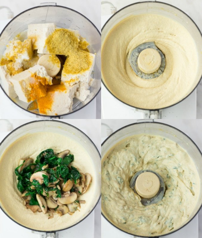 collage of how to make vegan quiche filling