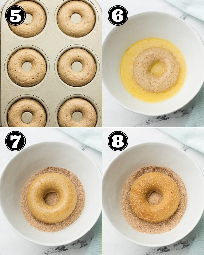 collage 2 of how to make donuts, dip in butter and sugar-cinnamon mixture