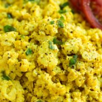 close up of tofu scramble
