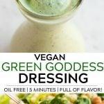 pinterest collage of vegan green goddess dressing