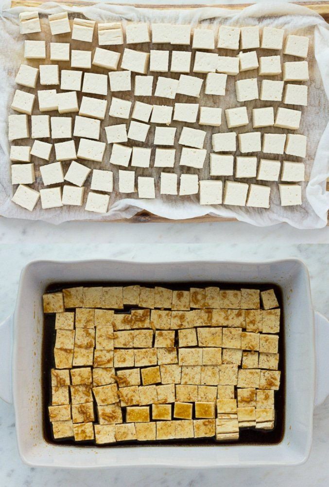 showing pressed tofu pieces on paper towels and with marinade in a dish