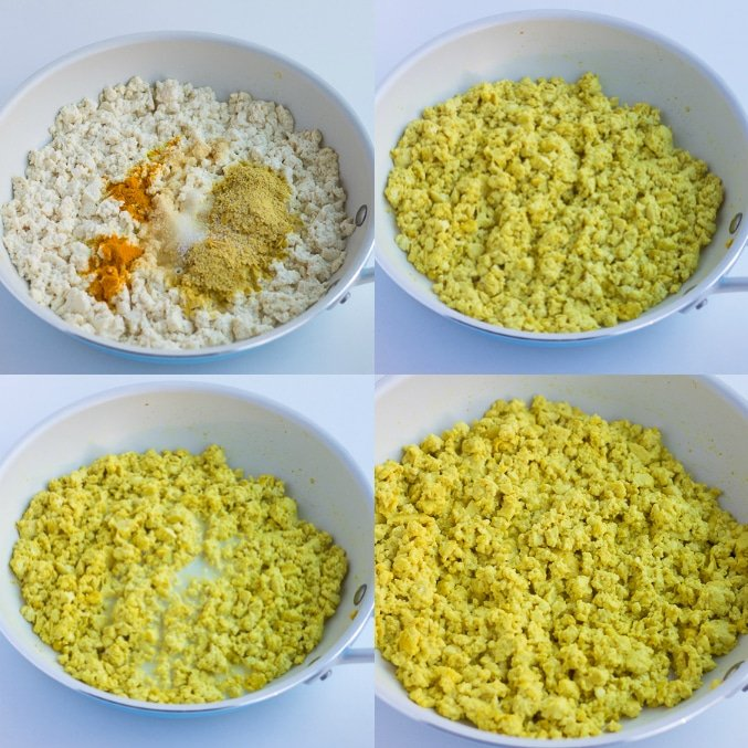 collage showing tofu scramble in pan, seasonings being added, then milk.