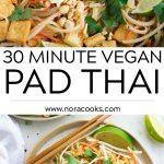 vegan pad thai pinterest collage