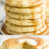 pinterest collage with text of pancakes