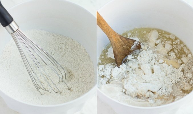 collage showing dry ingredients for vegan blueberry muffins and wet added.