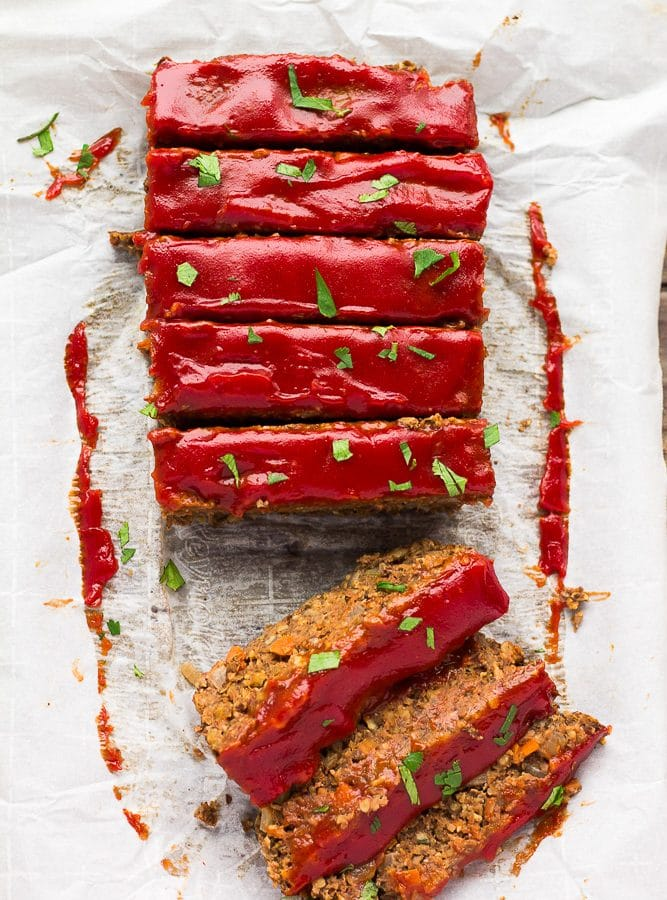 looking down on lentil loaf, sliced.