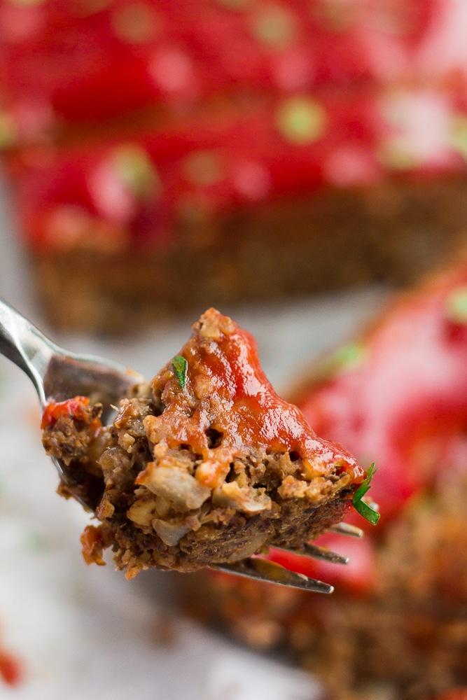 lentil loaf on a fork.