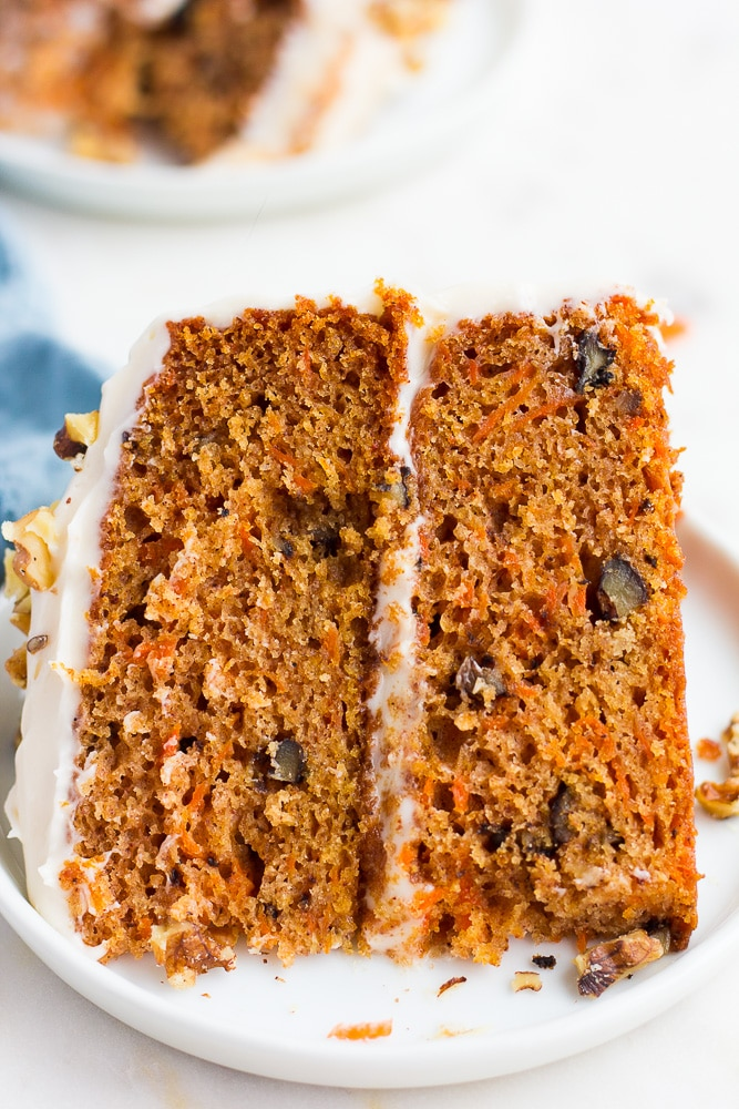 close up of piece of carrot cake