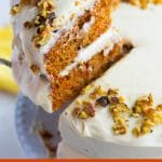 pinterest image with text of vegan carrot cake