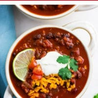 pinterest collage with text of chili that is vegan