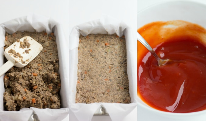 putting lentil loaf into the loaf pan, uncooked plus ketchup topping.