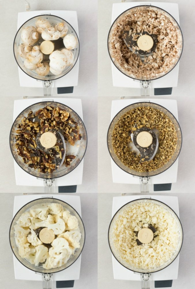 collage of cauliflower, mushrooms and walnuts being ground up in food processor.