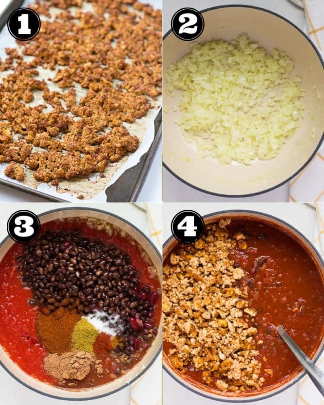 collage of how to make chili, vegan with tofu crumbles, step by step